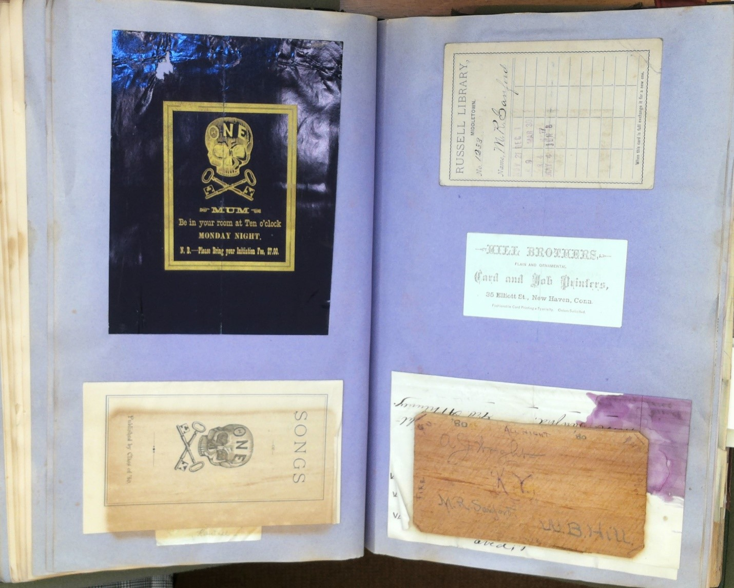 Ephemera in Special Collections & Archives: Scrapbook of Myron Reed Sanford, Class of 1880